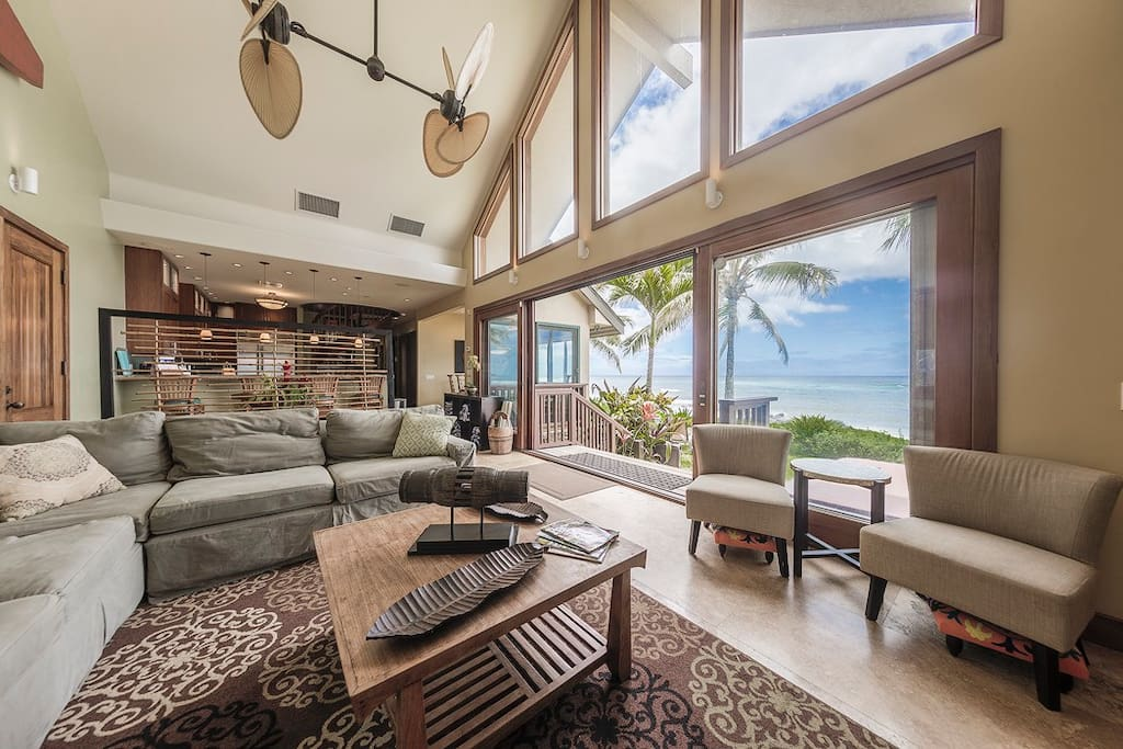 Relax in the open Family room with a view.