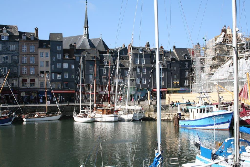 Honfleur harbour 5 minute walk.