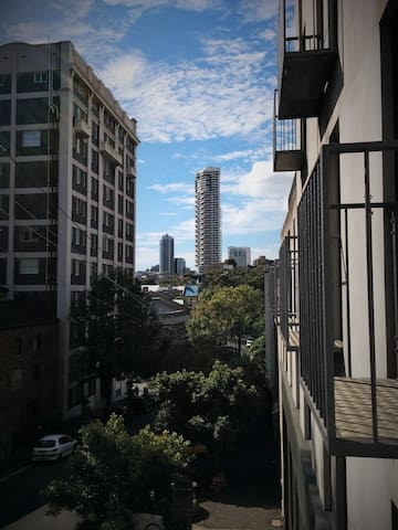 Balcony view to the east.  Darlinghurst and Kings Cross
