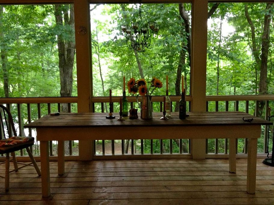 Tree-house 30' screened porch overlooking the rushing river...opens with double doors into great room