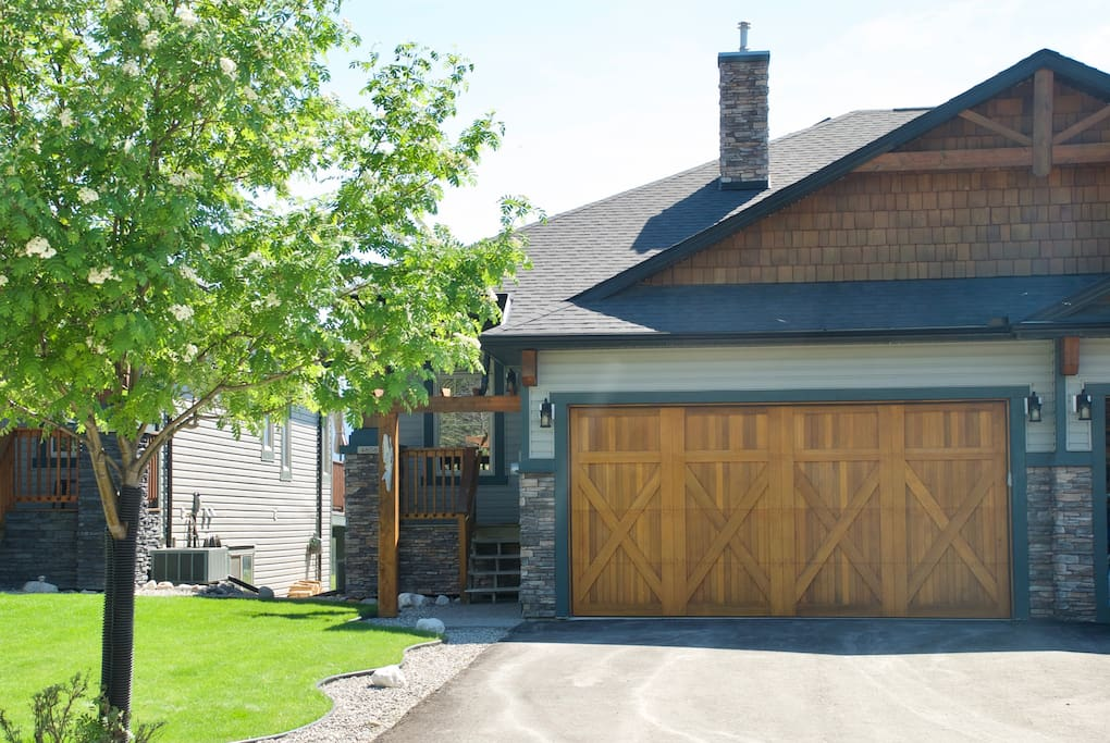 Large front drive with attached garage