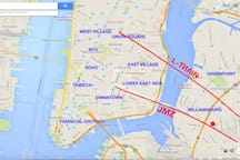 The red circle is the apartment. You are very close to all the best places in New York City. Takes 10 minutes from the door to get into Manhattan.