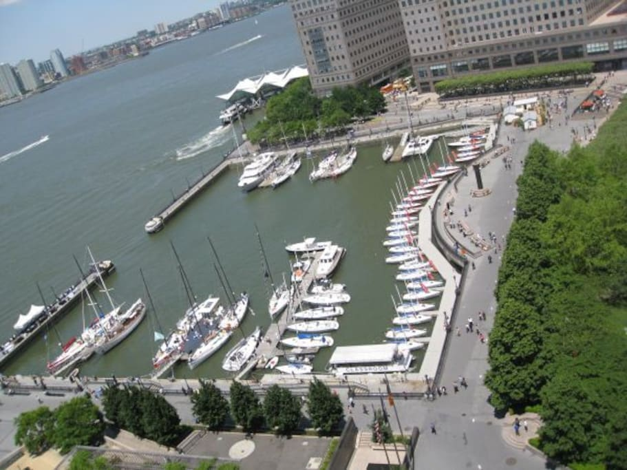 Direct View from Apartment over North Cove Marina and NY Sailing Club