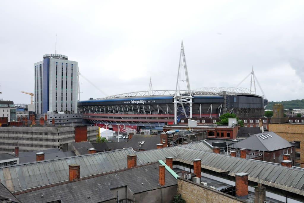 View of Principality Stadium from balcony