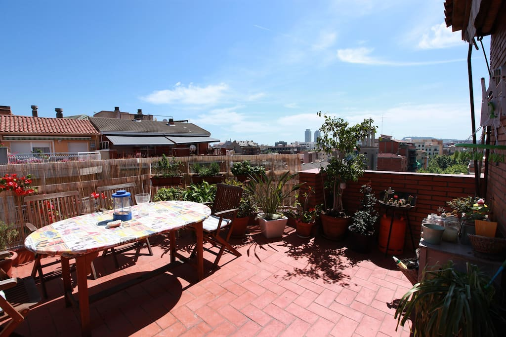 The terrace is facing south - east, most of the day it is sunny