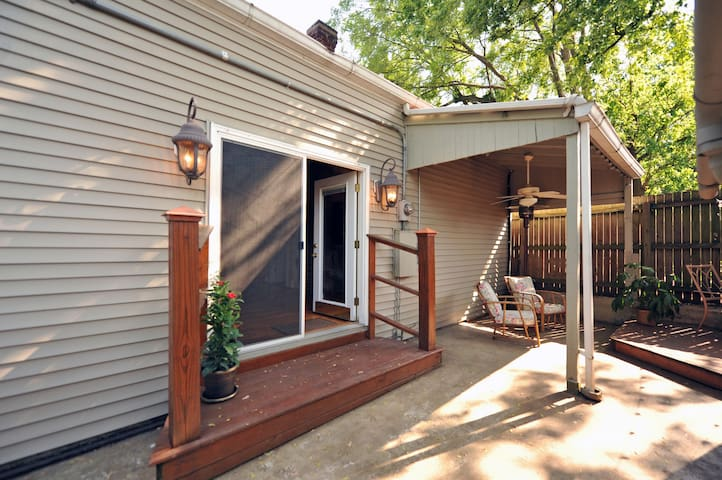French doors that open up onto patio, screened porch.