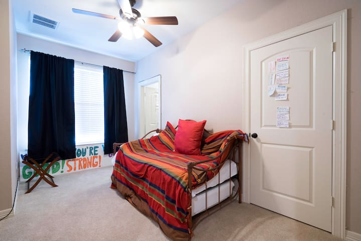 Conveniently located guest bedroom with full bath