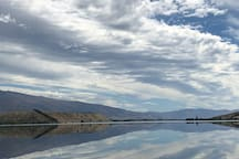 Lake Dunstan is lovely with mirror image views.