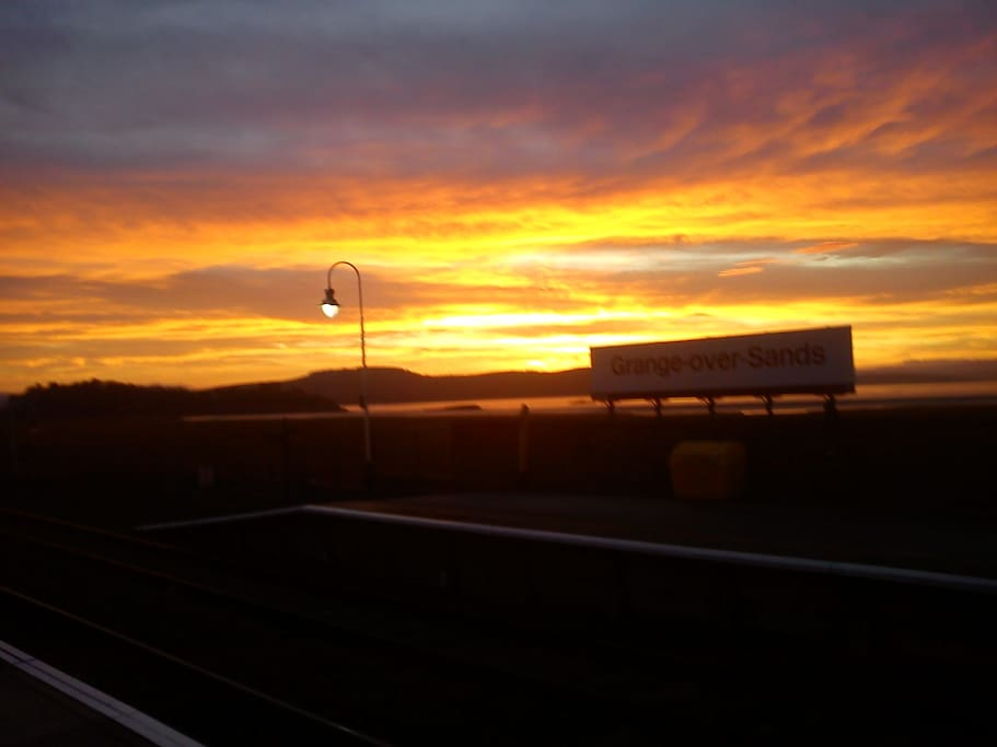 Sunrise at Grange over Sands Railway Station.