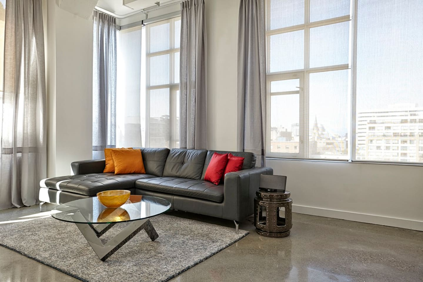Bright living room with great view and awesome sofa