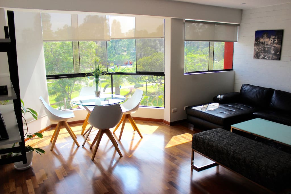 Living room with park view