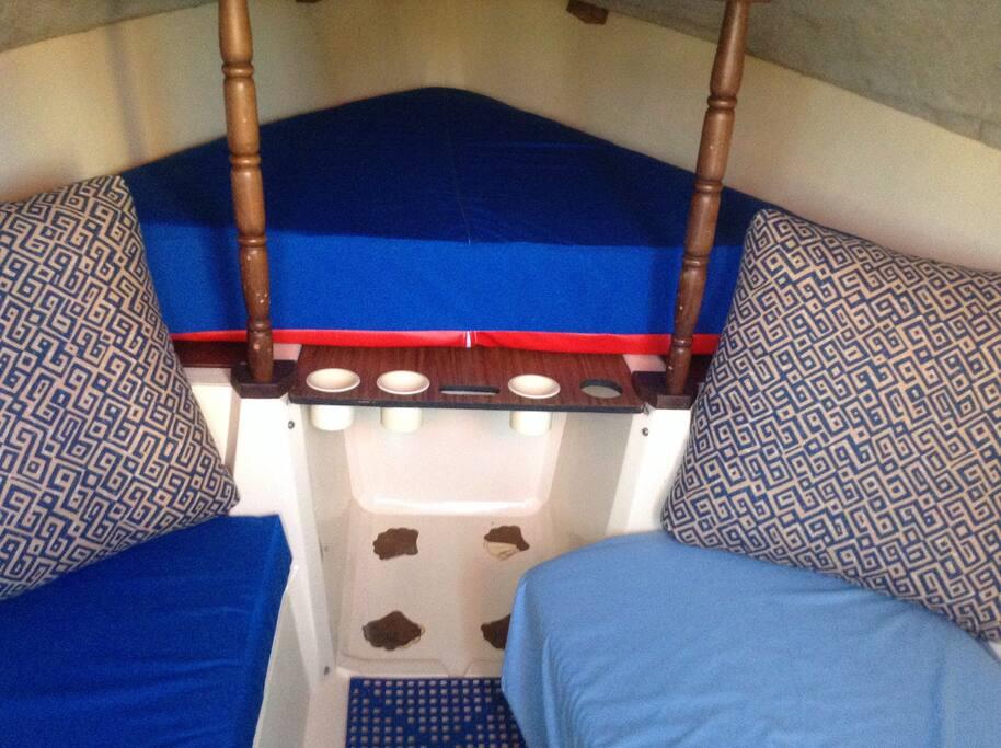 Comfortable V-berth mattress.