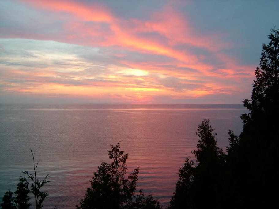 Sunset on Lake Huron from Cottage.