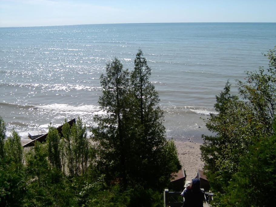Access to private beach on Lake Huron.