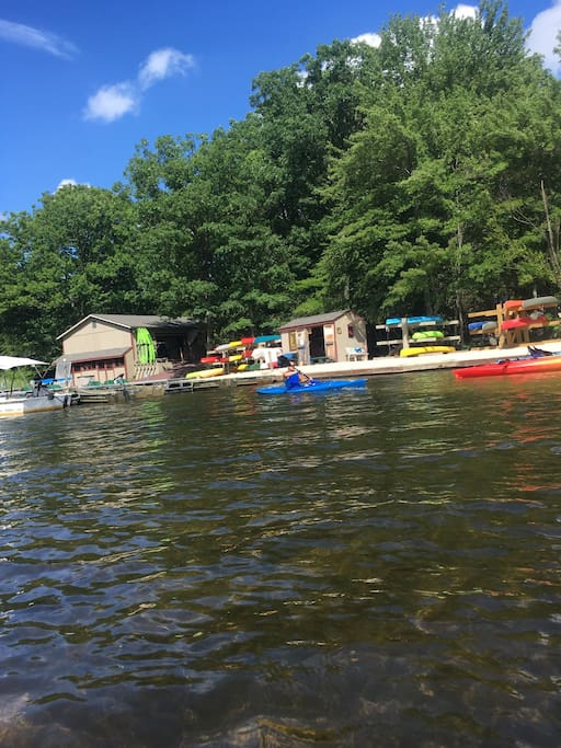 Lake club-- rentals available for water activities including kayaks and paddle boards