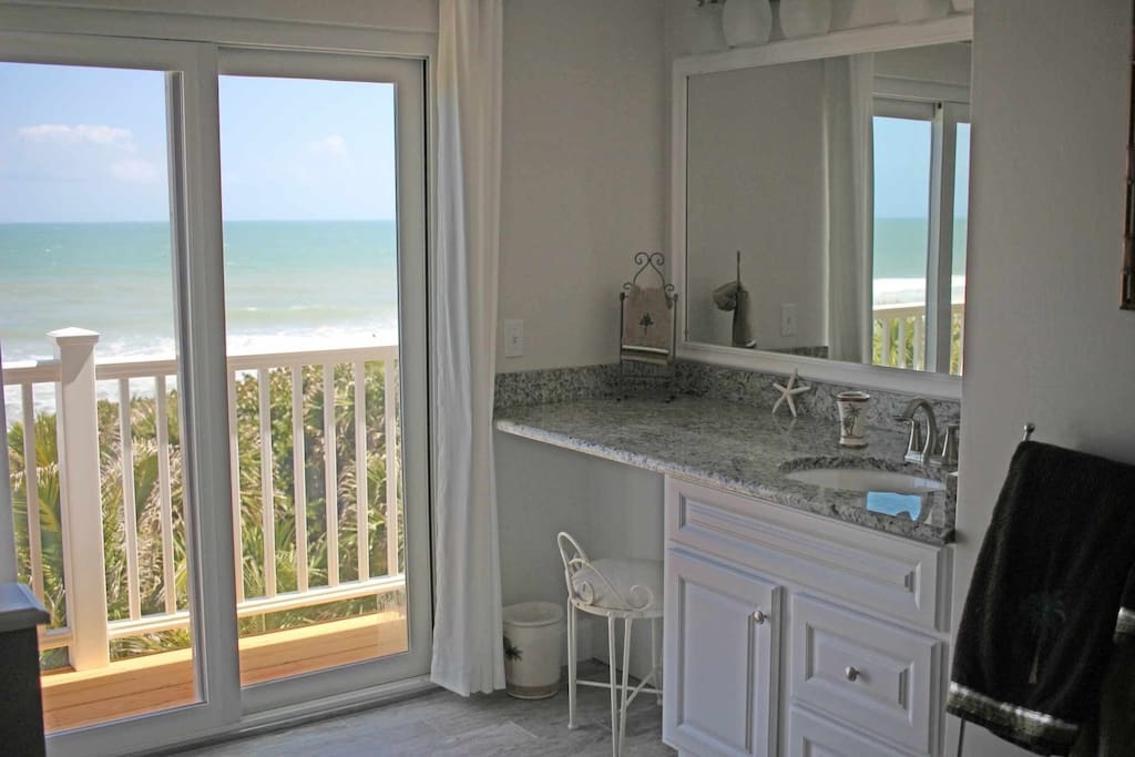 Breathtaking views of the ocean from the master bathroom.