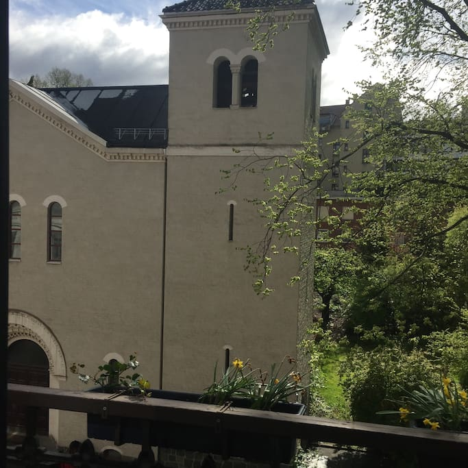 View from balcony: A catholic monastry with a beautiful small park