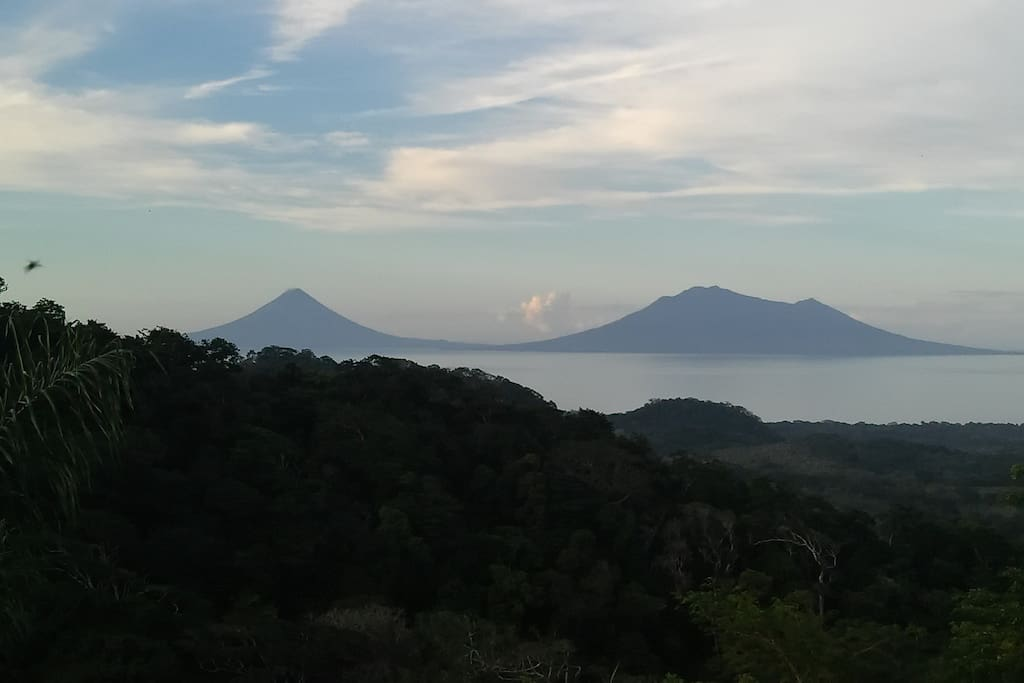Nicaraguan Volcanoes, view from the restaurant and the bungalows!