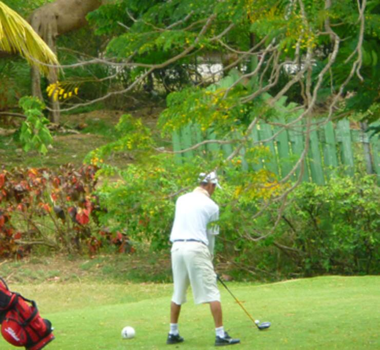 Apartment overlooks 5th tee of 9 hole golf course (available to guests at discounted rates).