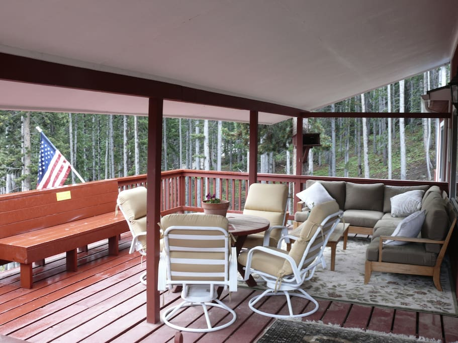 Large half covered deck with gas bbq.