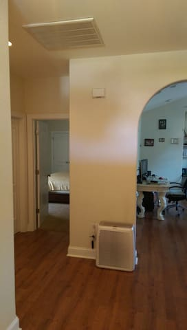 View from the front door looking in.  Your room is ahead on the left.