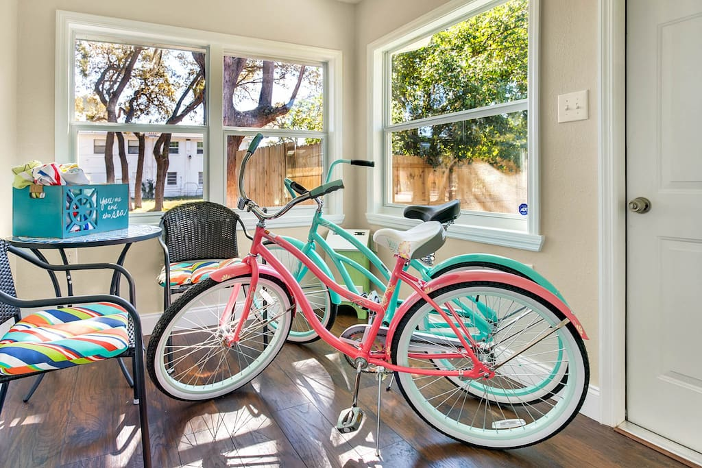 New beach bikes ready to roll, take a 10-minute drive—or short bike ride—to the beach