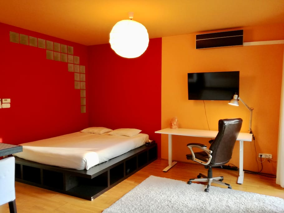 Main area, bed on the right, workstation and television on the