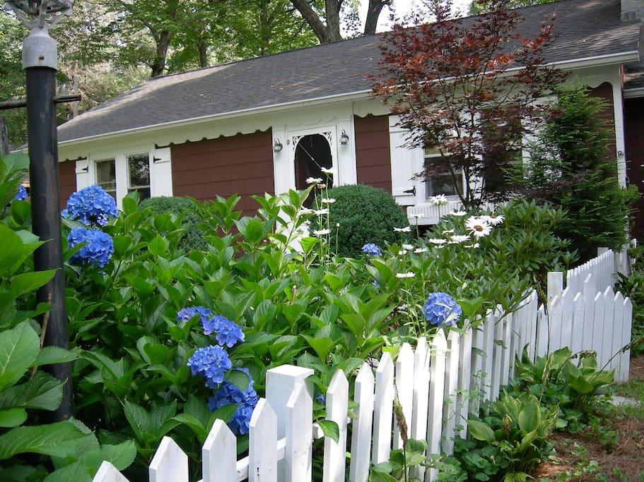 Front door and cottage garden