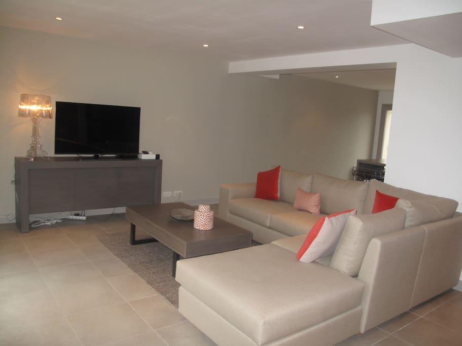 Vue salon et coin TV avec bouquet satellite CanalSat &  Canal+