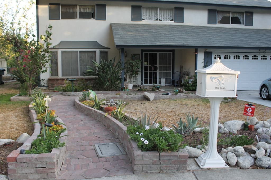 View of the house from front sidewalk... before the addition of cactus and native succulent plants.