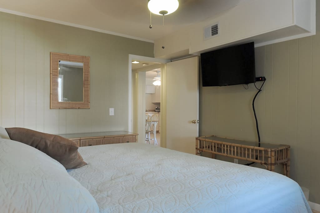 Flat screen TV in the master bedroom