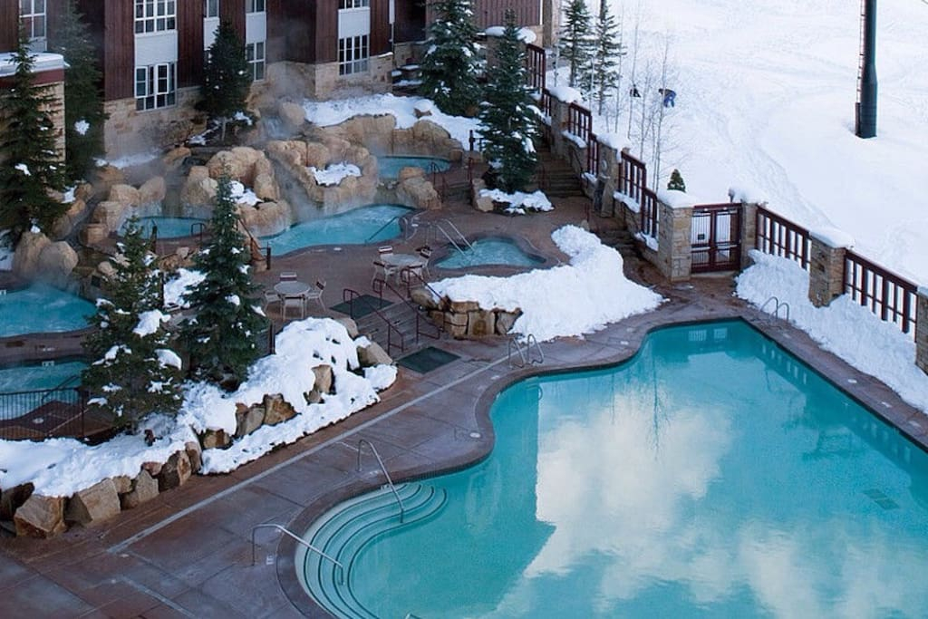 Heated pool and spa area