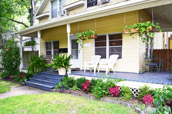 One bed, one bath apartment located on second floor of a charming, renovated 1930s Montrose craftsman bungalow.