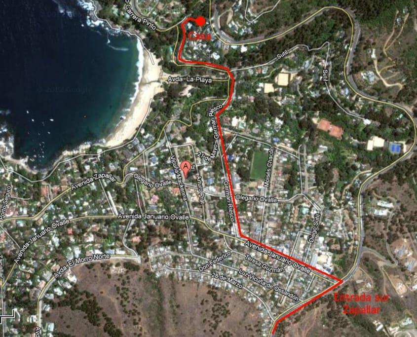 Este es el plano de cómo llegar podrás ver lo cerca que queda de la playa.