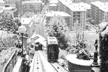Anche l'inverno offre suggestioni e bellezza sulla città di Biella. Una vista dall'antica Funicolare che porta al Centro Storico di Biella Piazzo