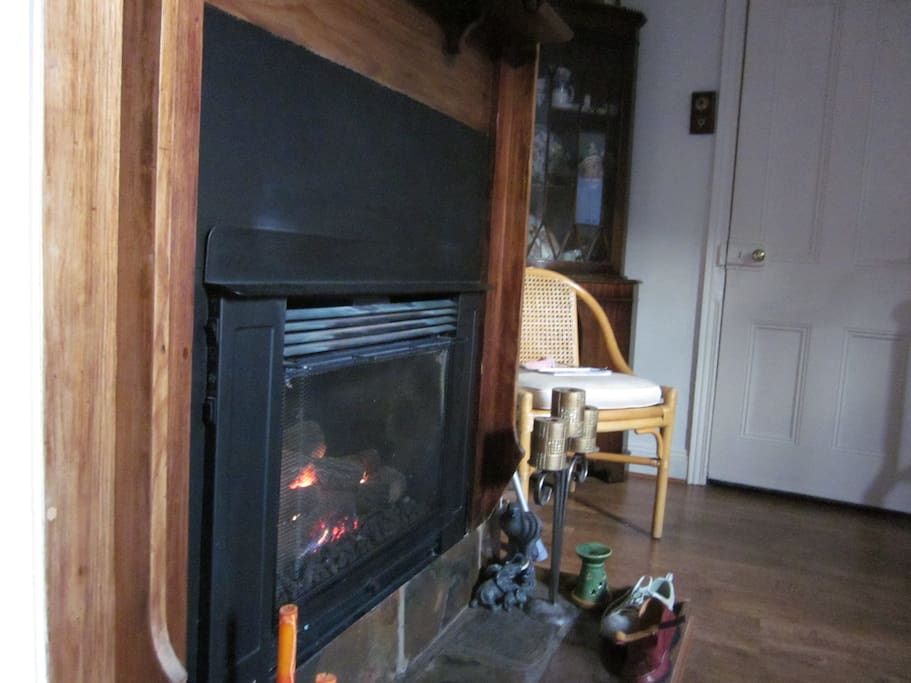 Cosy and effective gas flame heating in lounge as well as an electric split system heater