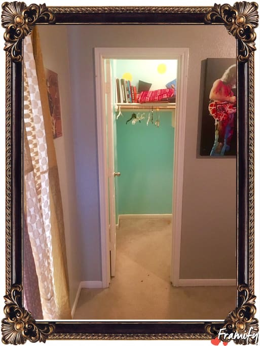 Empty closet for hanging clothes and shoes