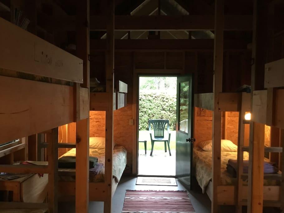 Each bunk has a reading light