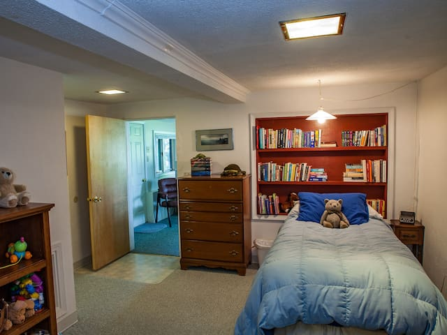 Downstairs den with a twin bed and a hide a bed couch.