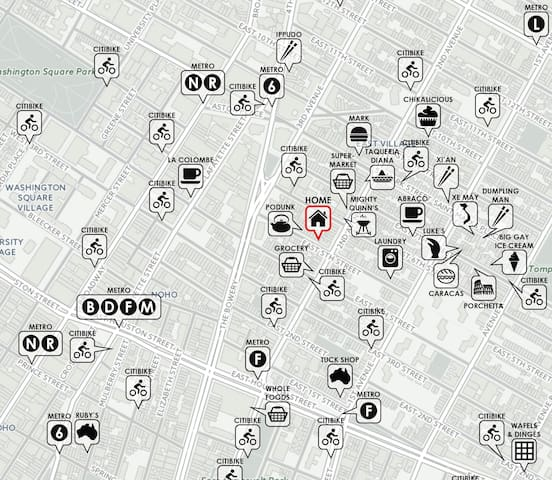 Here's a neighborhood map showing my location on the border of NoHo. Shown also are Metro stops, CitiBike stations, and restaurants I'd recommend for a food crawl. Note that most apartments listed in the East Village are much farther east, and therefore significantly farther from public transportation.