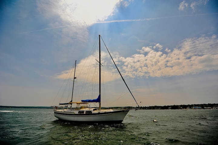 Stay in Plymouth Harbor on Windemere a 46' Ketch