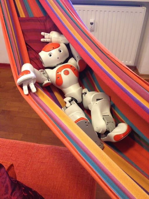 Even a robot was a guest and he really like to rest in the hammock.
