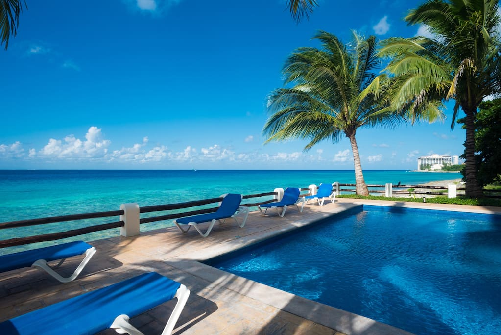Fresh water pool sits right on the Caribbean