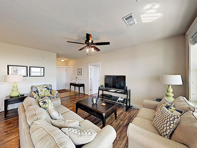 "Relax and watch your favorite shows on the 49"" flat-screen TV in the living area."