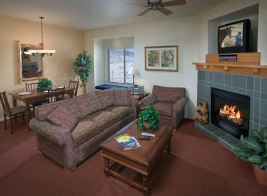 there may or may not be a fireplace because rooms vary