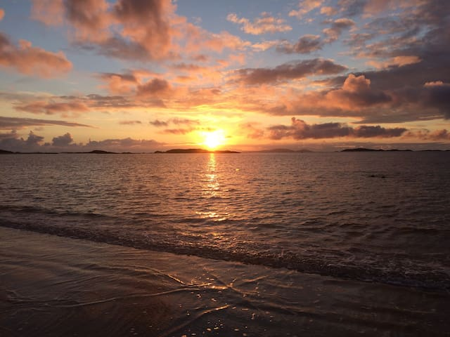 Sunset over Glassillaun beach