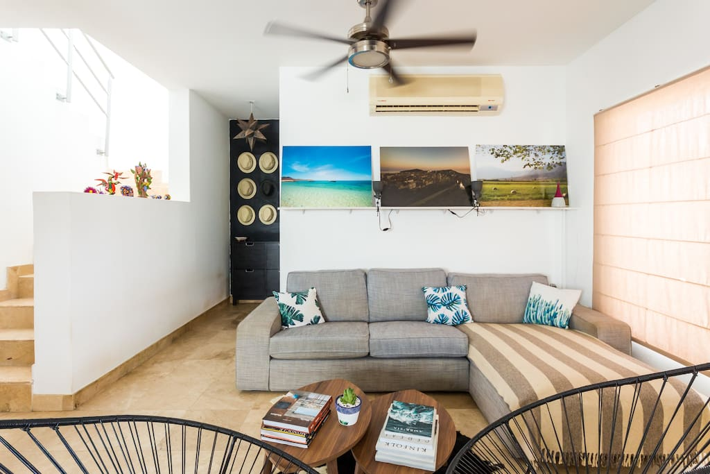 Living room. On the left hand are the stairs for the upper studio & terrace