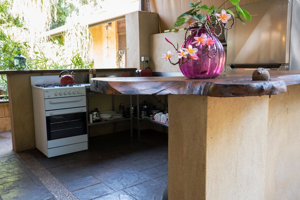 Cook up a feast in the well equipped outdoor kitchen