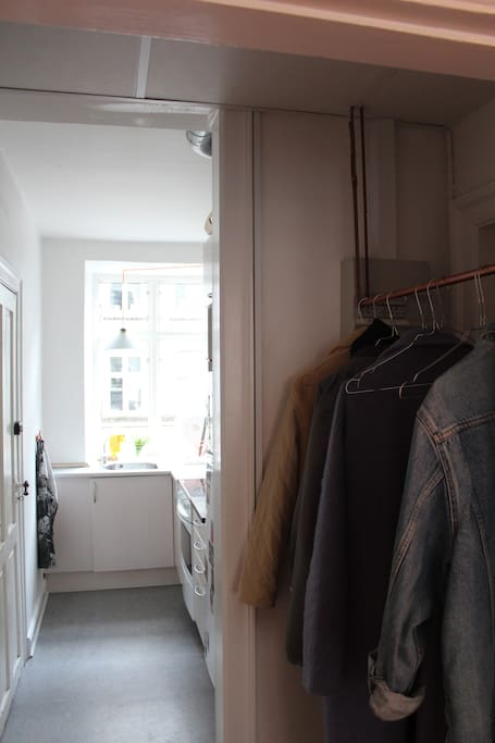 look from the entrance into the kitchen.