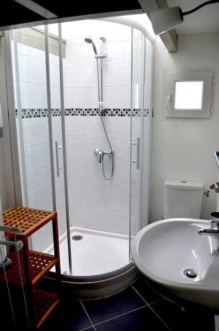 Salle de bain, douche et WC